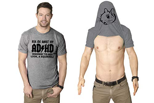 Ask Me About My ADHD T Shirt Funny Squirrel Flip Shirt (Grey) XXL