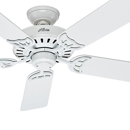 Hunter Fan 52 inch Indoor Ceiling Fan in White with 5 White/Bleached Oak Reversible Composite blades (Certified Refurbished)