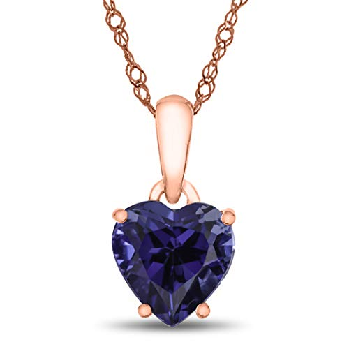 (Finejewelers 10k Rose Gold 7mm Heart Shaped Created Blue Sapphire Pendant Necklace)