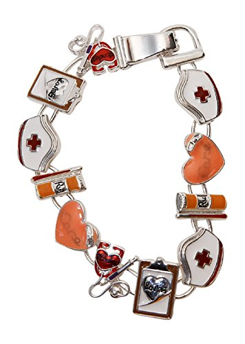 [Nurse Cap Stethoscope Chart Heart Needle Charms Silvertone Magnetic Bracelet, 7.375