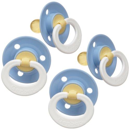 Gerber Nuk Latex (Gerber First Essentials Soft Center Latex Pacifier, 4 Pack - Blue)