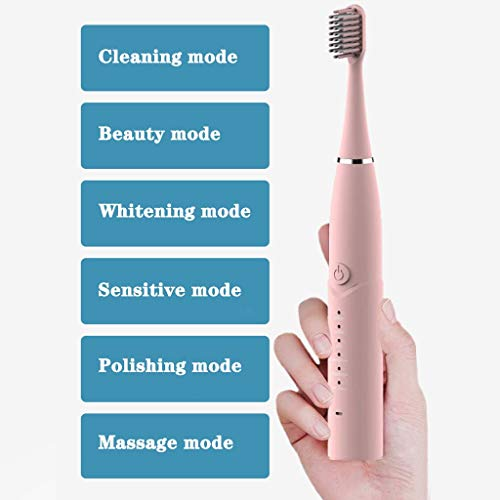 EDTO Sonic Electric Toothbrush, USB Waterproof RechargeableCustom Soft Toothbrush (Pink)