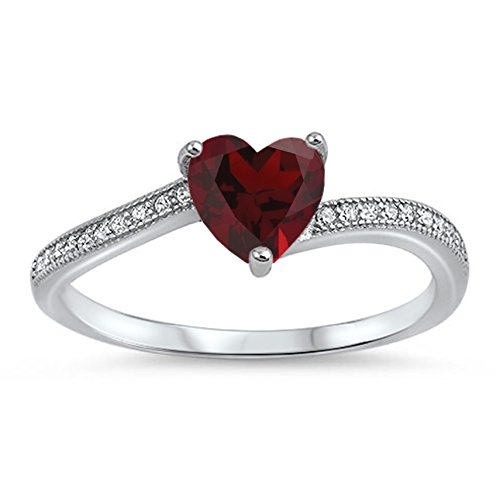 925 Sterling Silver Faceted Natural Genuine Red Ruby Heart Promise Ring Size 5