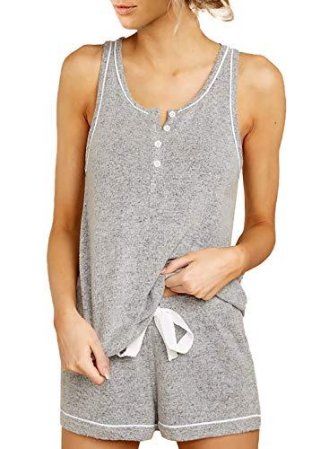 Lovezesent Womens Button Tank Top with Shorts Pajamas Set Sleepwear Nightwear Pjs