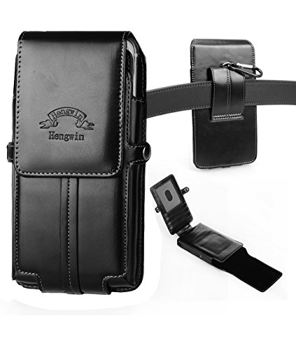 iPhone 7 Plus Holster,Hwin Vertical High Grade Smooth Leather Holster Belt Clip Pouch Carrying Case with Card Slots for Galaxy Note 5 4 S6 Edge Plus/S7 edge Plus LG G4/G5+Free Keychain-5.5 inch_Black - High Grade Leather