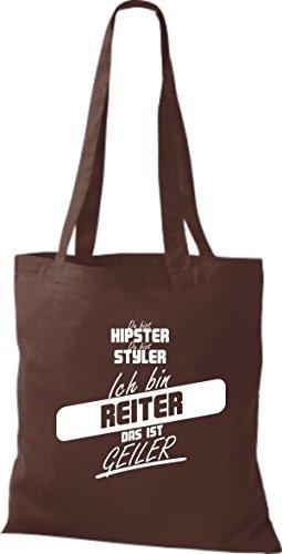 Shirtstown Stoffbeutel du bist hipster du bist styler ich bin Reiter das ist geiler braun
