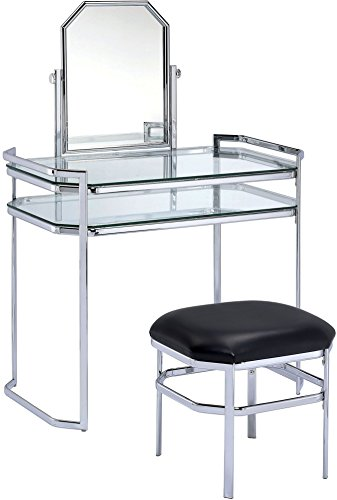 Furniture of America CM-DK6843CRM Colleen, Set de Tocador Estilo Contemporáneo de Metal, Color Pl