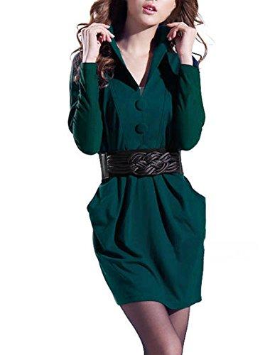 sourcingmap Mujer Cuello De Punto Dolman Mangas Vestido Mini con cinturón Verde