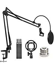 "Microphone Stand Adjustable Studio Mic Stand Suspension Boom Scissor Arm with 3/8""to 5/8"" Screw Adapter, Windscreen Pop Filter, for Snowball & Microphones Radio Broadcasting, Recording"