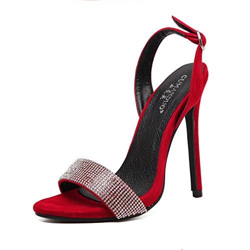 Femmes Chaussures Printemps Été Sandales Talon Stiletto Strass Sandales Talon Stiletto Bout Ouvert Boucle Pour Casual Party & Soirée Mode Sandales GAOLIXIA Rouge 8NrhQHGQDM