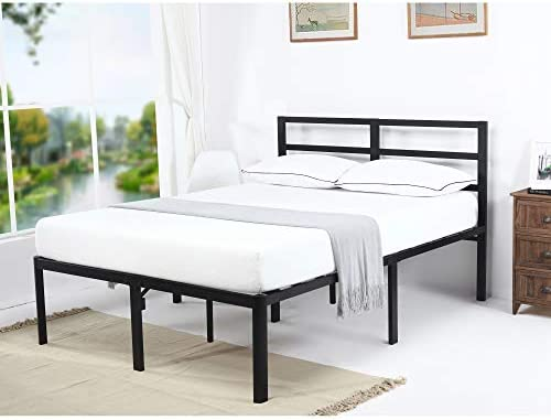 V LX 18 Inch Tall V1407 Head Support Bar Deluxe Metal Slat Bed Frame Queen , Black