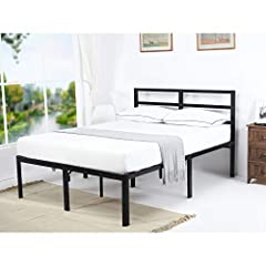 This sturdy, stable and durable 18 inch tall metal platform bed with steel slats replace a box spring. No box spring needed. Hold 1500 lbs. based on Static test result. Double sliding protect system 1. Applying double adhesive tape. 2. Encasi...