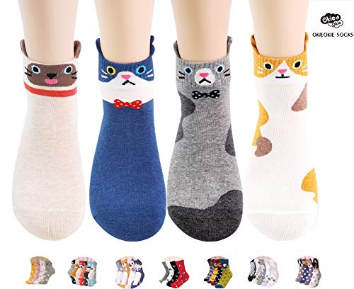 OKIE OKIE Womens Novelty Socks Gift Set - Cute Animals Cat Dog Art Cartoon Character Funny (Animal - Cats 4pcs)