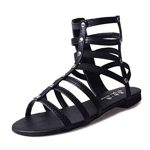 Btrada Dames Cross Stap Platte Sandalen Peep Toe Klinknagel Zip Romeinse Sandalen Zwart