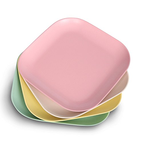 StorageWorks Bamboo Fiber Side Dish Plates, Colorful Serving Dinner Plate Set, Pink / Light Green / Creamy / Light Yellow, Large, 4-Pack Pink Dinner Set