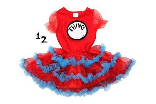 Dr. Seuss Thing 1 & 2 Girls Tutu Dress by elope (Size 3-6) (Cat In The Hat Thing 1)