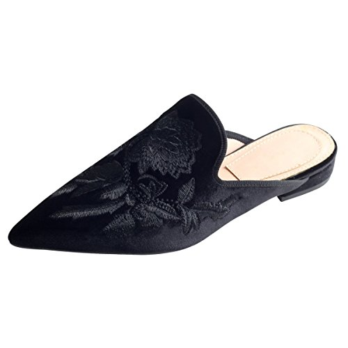 Solid Slippers Women's Jushee On Loafers Handmade Slip Backless Velvet Chic Mule Flat Black Shoes Embroidery BOxOwFqA