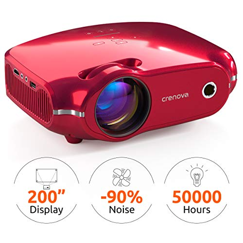 Crenova Mini Projector, 3200 Lux Portable Home Video Projector with 1080P HD Supported, 200″ Display, Compatible with HDMI, PC, Fire Stick, PS4, TV Box, VGA, TF, AV, USB – Red