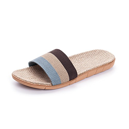 L'enfant Unisex Linen Striped Slippers Summer Skidproof House Indoor Sandals Coffee