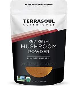 Terrasoul Superfoods Organic Reishi Mushroom Powder (4:1 Extract), 5.5 Oz - Immune Boosting   Coffee Enhancer   Deeper Sleep