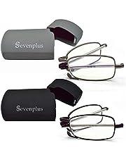 2 Pairs Blue Light Blocking Glasses Anti UV Glare Eyestrain Compact Folding Reading Glasses for Unisex with Cases Wiping Cloths (Black & Gunmetal)