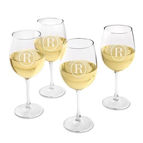 Personalized White Wine Glass Set of 4 - Engraved Wine Glasses - Circle Monogram Circle Monogram Set