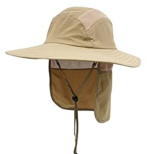 """Home Prefer Adult UPF 50+ Sun Protection Cap Wide Brim Fishing Hat with Neck Flap OS(21.65""""-23.62"""") Khaki"""