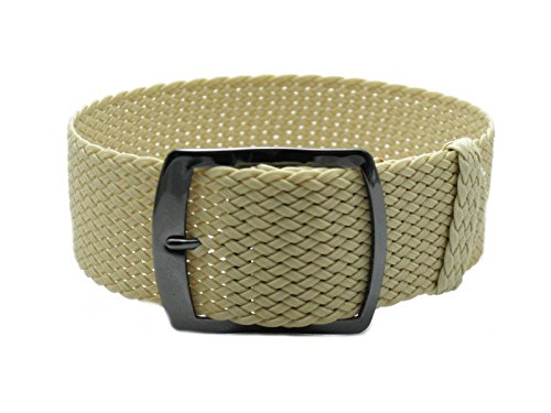 HNS 22mm Beige Perlon Tropic Braided Woven Watch Strap with PVD Buckle