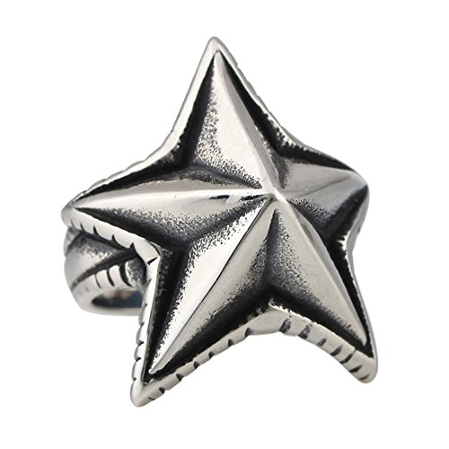 Punk Vintage Titanium Steel Stainless Stee Ring Five Pointed Arrow Stars (Titanium Star Ring)