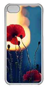 Customized Case Red flowers photography PC Transparent for Apple iPhone 5C