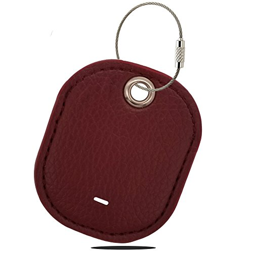 Logity TrackR Pixel Case/ TrackR Bravo Cover with Carabiner Keychain, TrackR Pixel/ Bravo Accessories, Leather Cover for TrackR Bluetooth Tracker, Anti-Lost Design, Red.