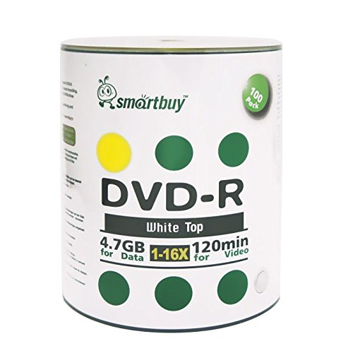 41W10UQ4S2L - Smartbuy 4.7gb/120min 16x DVD-R White Top Blank Data Video Recordable Media Disc (200-Disc)