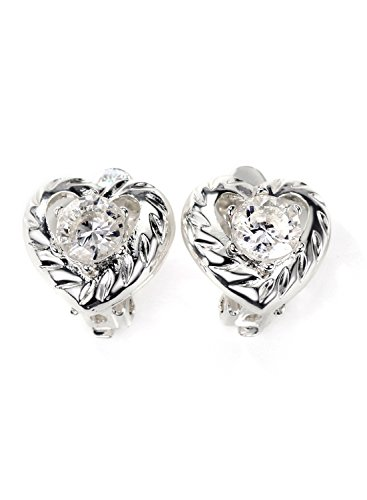 Neoglory Jewelry Silver Color CZ Cubic Zirconia Clear Heart Setting Clip Earrings for Sensitive ()