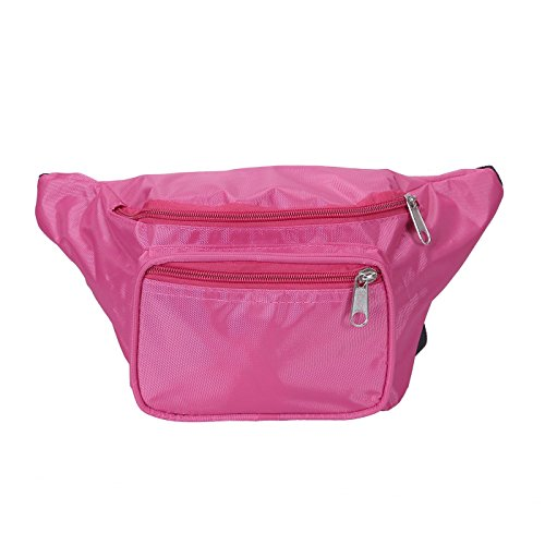 [HDE Fanny Pack [80's Style] Waist Pack Outdoor Travel Crossbody Hip Bag (Pink)] (1980's Costume Party City)