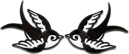 Dove Applique - Lot of 2 Bird Tattoo Swallow Dove Sparrow Appliques Iron-on Patches White B