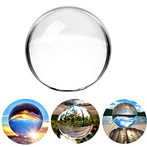 Clear Crystal Ball - 3.15 inch (80mm) Art Decor Crystal Prop Sphere for Photography/Wedding/Home/Decoration -K9 Crystal Suncatchers Ball with Velvet Storage Bags and Gift -