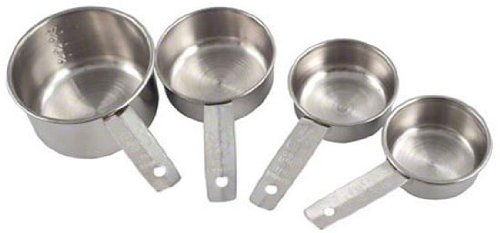 American Metalcraft MCL4 4-Pack Stainless Steel Measuring Cup Set with Solid Flat Handle