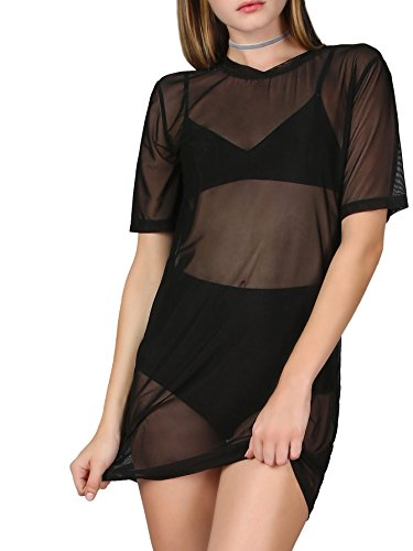 MAKEMECHIC Women's Short Sleeve See Through Sheer Mesh T Shirt Dress Black - Neck Split Dress Beaded