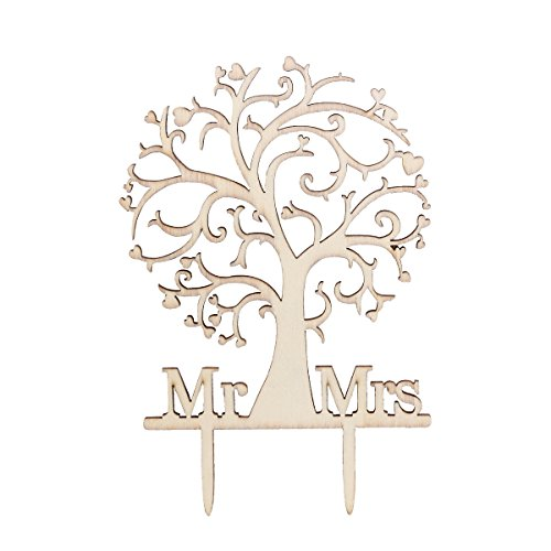 WINOMO Mr Mrs Tree Style Cake Topper With Your Last Name for Wedding Anniversary Birthday Party