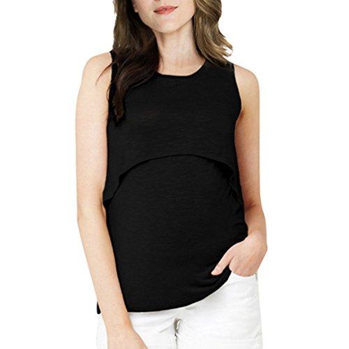 Top Gravidanza Moda d'Allattamento Canotta Nero Casual Anguang maternità Incinta Gilet di Giuntura qOwq0fX