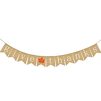 Give Thanks Bunting Banner Party Banner Thanksgiving Day Party Decorations With Burlap Ribbonwhite Letter
