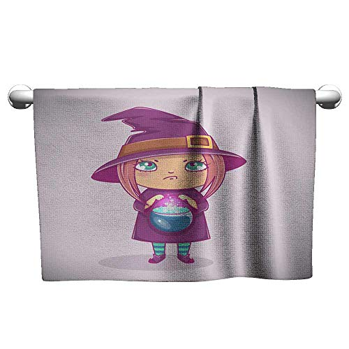 Andasrew Flowered Halloween Little Witch Girl Kid with Angry face in Halloween Costume with Cauldron Vector Illustration,Shammy Towel for car -