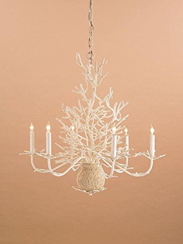 White Coral/Natural Sand Seaward 6 Light Chandelier with Customizable Shades