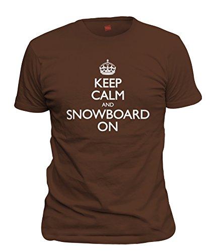 ShirtLoco Men's Keep Calm And Snowboard On T-Shirt, Dark Chocolate 3XL