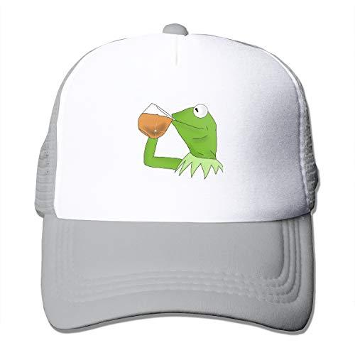 Baseball Caps Kermit The Frog Sipping Tea Trucker Hat Snapback Mesh Novelty Hats Gray