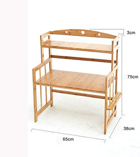 CWJ Bamboo Microwave Oven Rack Kitchen House Commodity Shelf Spice Rack Flower Storage Rack Sink Tableware Drain Shelf Table Storage Shelf,2 Layer,65CM