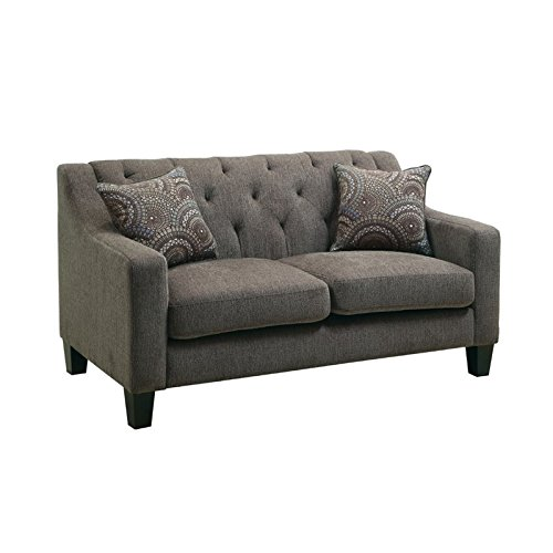 Furniture of America Kendly Tufted Fabric Loveseat in Mocha