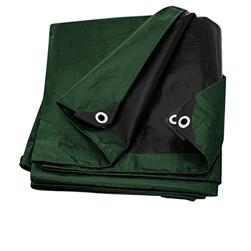 (Trademark Supplies Heavy Duty Thick Material Waterproof Tarp Cover, 20X40-Feet, Green/Black)