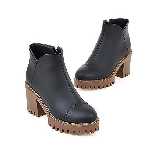 Round Zipper Black Solid Toe Soft Heels Boots Women's Closed High AgooLar Material zFqngO4zIw