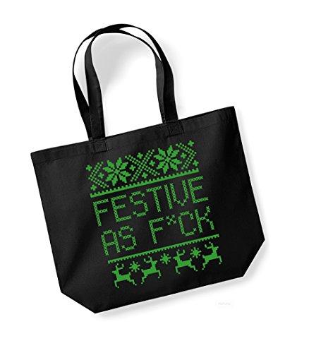 Festive As F*ck - Large Canvas Fun Slogan Tote Bag Black/Green
